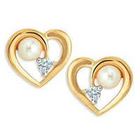 Ag Real Diamond HEART SHAPE WITH PEARL AND DIAMOND AGSE0165