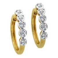 Ag Real Diamond FANCY BALI SHAPE EARRING AGSE0172