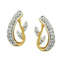 Ag Real Diamond ANTIC LEAVE  SHAPE DIAMOND EARRING AGSE0184
