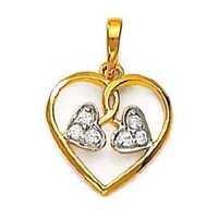 Avsar Real Gold and Diamond THREE FANCY HEART SHAPE DIAMOND PENDANT AVP0130