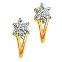 Avsar Real Gold and Diamond FLOWER CLIP SHAPE EARRING AVE0153