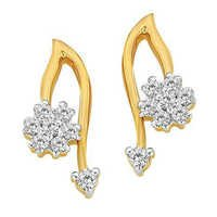 Avsar Real Gold and Diamond SPARKLING FLOWER WITH BEAD DIAMOND EARRING AVE0154