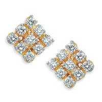 Avsar Real Gold and Diamond DIAMOND SQUARE BOTTON SHAPE EARRING AVE0155