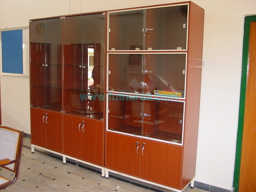 wooden storage with glass