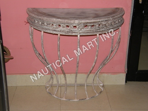 CAST IRON DEMILUNE CONSOLE TABLE 2
