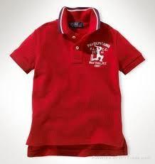 Red Collar Neck Kids T Shirt