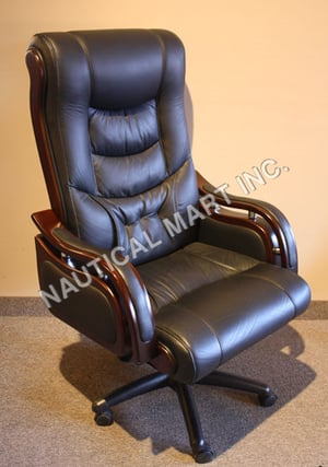 VINTAGE EXECUTIVE NEWLY MADE LEATHER OFFICE CHAIR