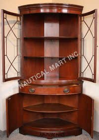 Mahogany  Curved Glass China Cabinet Circa