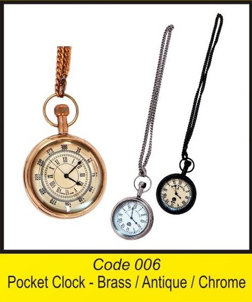 OTC 006 2'' Pocet Clock - Brass  Antique  Chrome