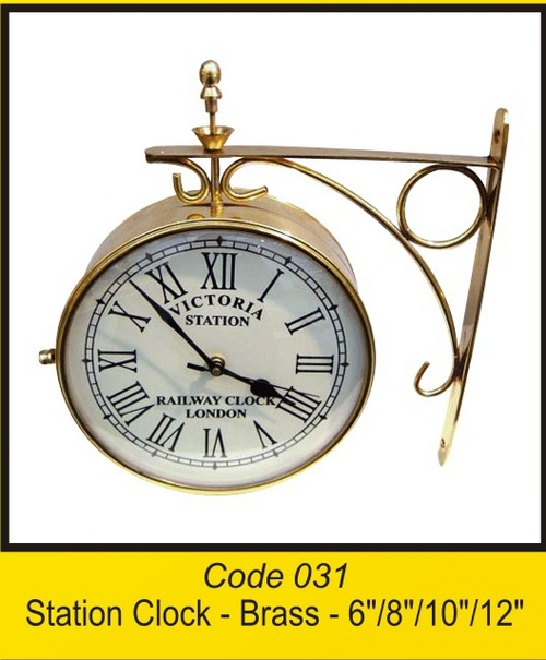OTC 031 Station Clock - Brass - 6'' 8'' 10'' 12