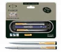 Parker Vector Stainless Steel Set-(GT) (Roller Ball+Ball Pen