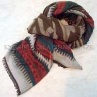 Wool Cotton Acrylic Jacquard Scarves