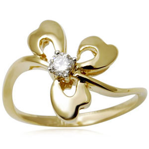Floral Solitaire Diamond Gold Ring