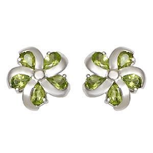 flower shaped peridot designer silver earring