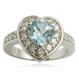 designer heart shaped blue  topaz silver ring