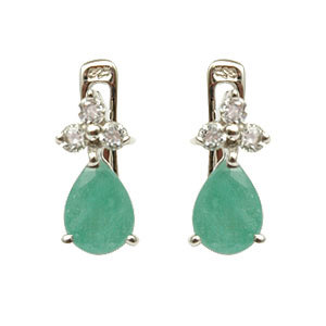 emerald and cz small earrings in silver