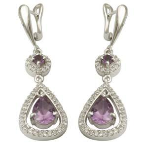 fancy 925 sterling silver earrings studded with amethyst and cz