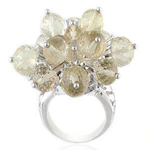 lemon quartz beaded silver rings