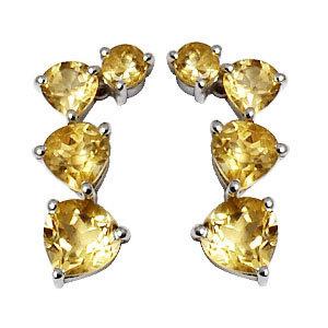 long silver earrings in citrine