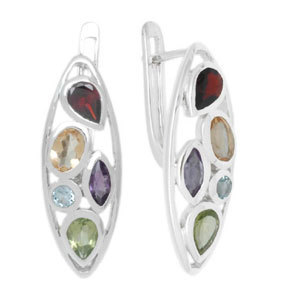 multi semiprecious sterling silver costume earring