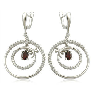 silver earrings with hoops and english lock