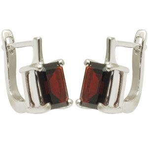 Sterling Silver Earrings, Garnet Tops