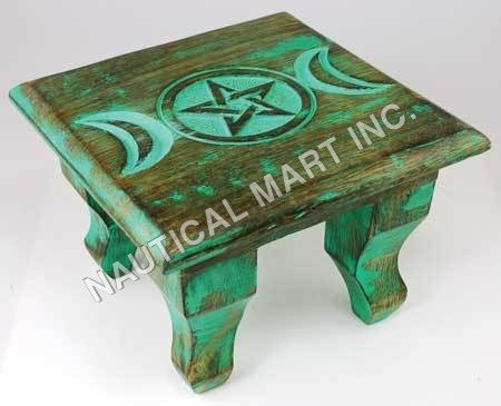 VINTAGE GREEN ANTIQUE ALTER TABLE