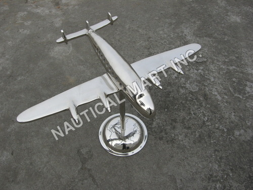Vintage Aluminum Wings With Globe Stand Aeroplane