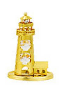 LIGHT HOUSE (SHOW PIECE) 24K GOLD PLATED GIFT WITH SWAROVSKI CRYSTALS