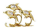 DOLPHIN TRIPLE (SHOW PIECE) 24K GOLD PLATED GIFT WTH SWAROVSKI CRYSTALS