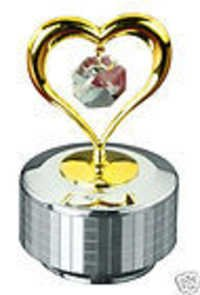 HEART STAND 24K GOLD PLATED GIFT SWAROVSKI CRYSTAL