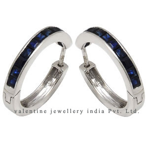 blue sapphire hoops in white gold jewelry