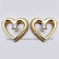 baby heart earrings in diamonds and yellow gold jewelry