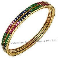 Multi Gems Gold Bangles Manufacturer