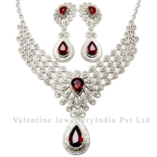 Pear Cut Ruby Gemstone Diamond Bridal Necklace Set