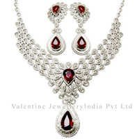 Pear Cut Ruby Gemstone Diamond Bridal Necklace Set