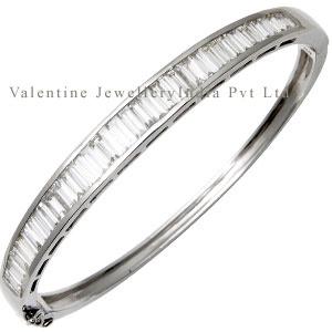 White Gold Baguette Cut Diamond Studded Bangle