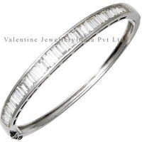 White Gold Baguette Cut Diamond Studded Bangle