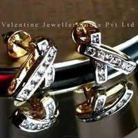 Diamond earrings in channel settin