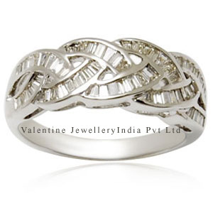 designer cross diamond band in white gold ring