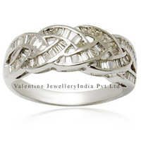 designer cross diamond band in white gold ring