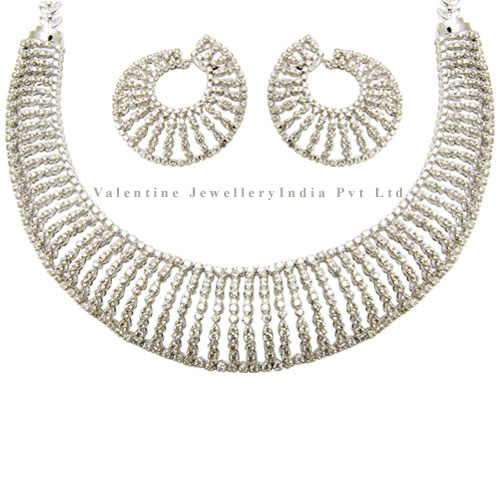 Bridal Diamond Necklace Earrings Set