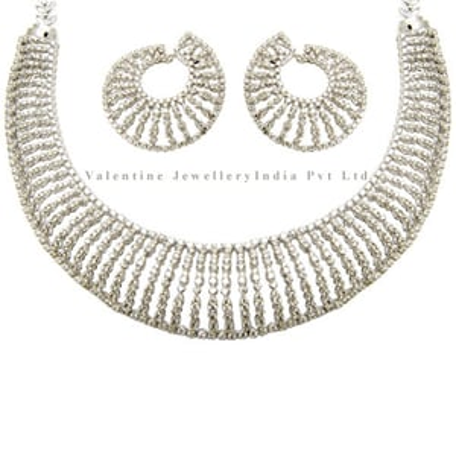 Bridal Diamond Necklace Earrings Set