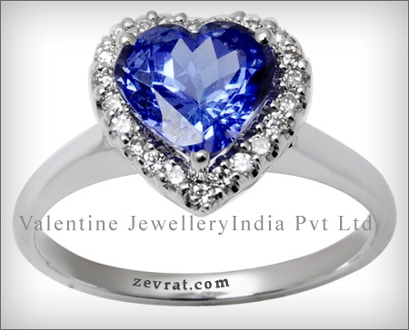classic tanzanite heart shaped surrounded by genui