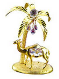 PALM-TREE-AND-CAMEL-SHOW-PIECE-24K-GOLD-PLATED-GIFT-SWAROVSKI-CRYSTALS-