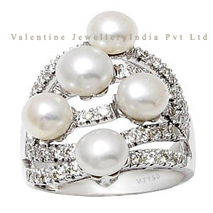 white diamond ring pearl and diamond rings