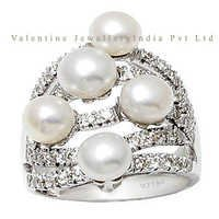 white diamond ring pearl and diamond rings