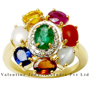9 Stone navratna rings collection in yellow gold