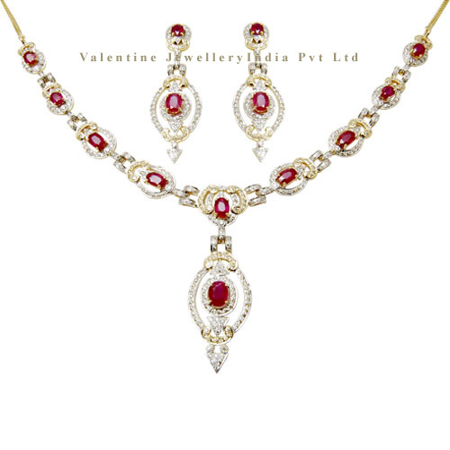 Ruby and diamond gold necklace set