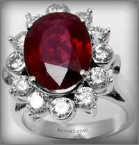 Royal wedding ring, ruby diamonds and white gold